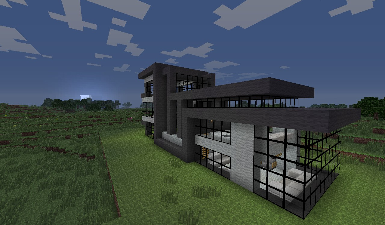 Modern house 6 5 garage textures terrace thing minecraft project - Terraced modern homes with underlying garage ...
