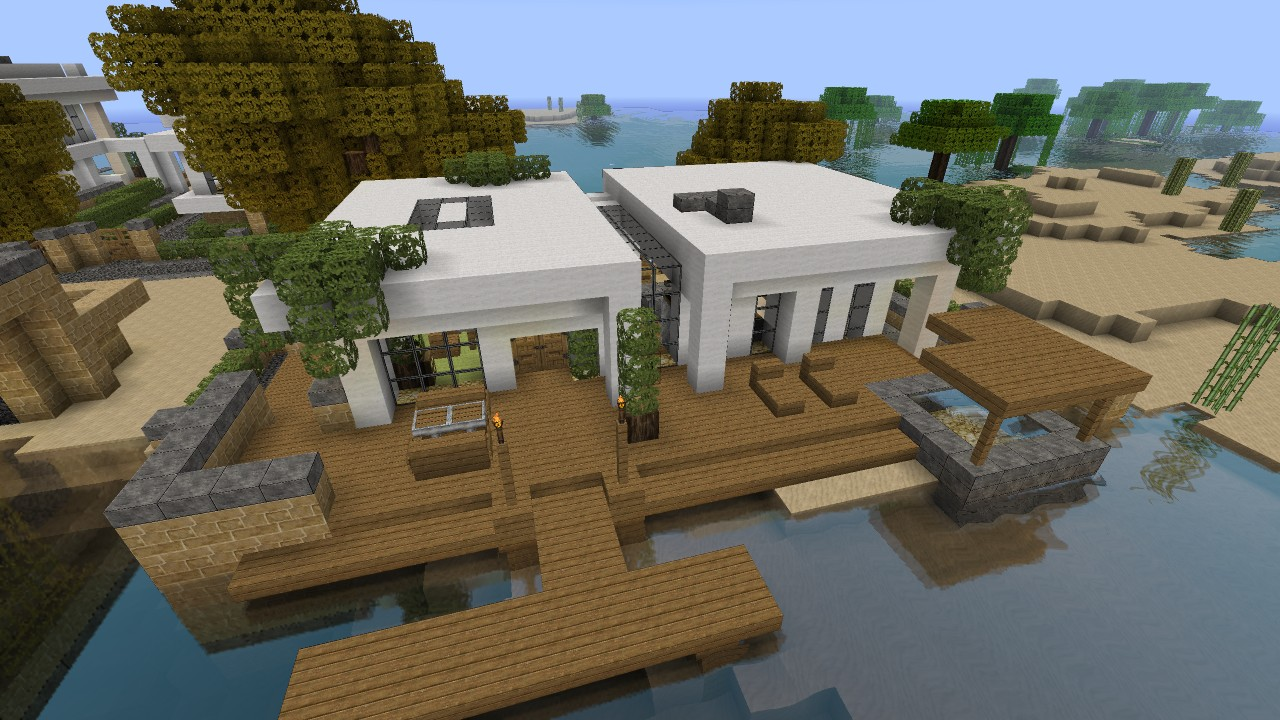 Simple modern house tutorial 1 beach town project for Beach house designs minecraft