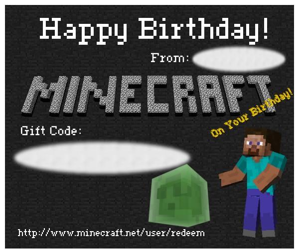 minecraft gift code birthday card minecraft blog, Birthday card