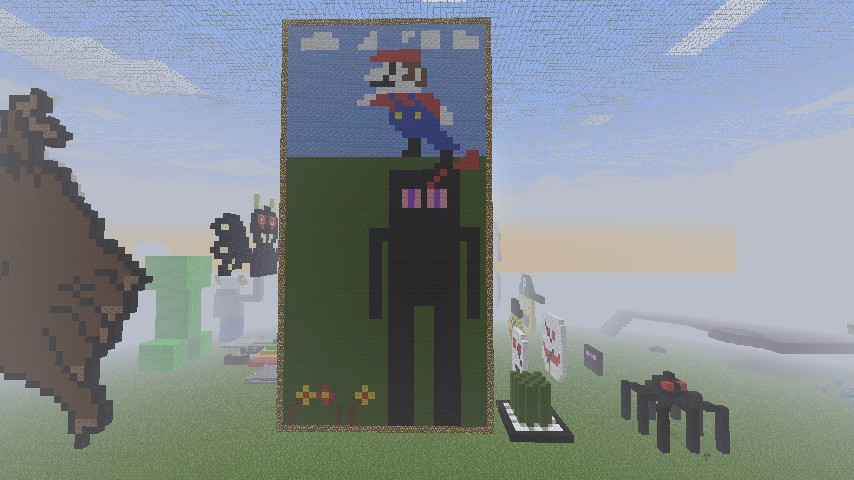minecraft enderman mario pixel art minecraft project
