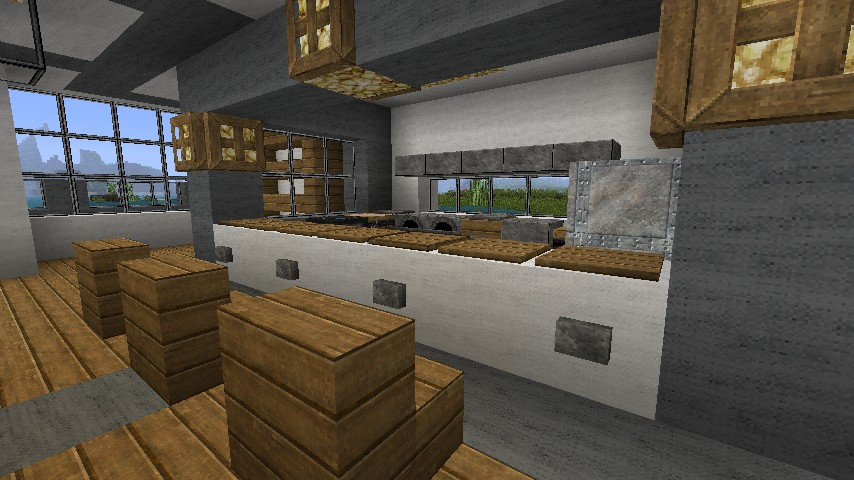 Modern luxury villa minecraft project for Kitchen ideas minecraft