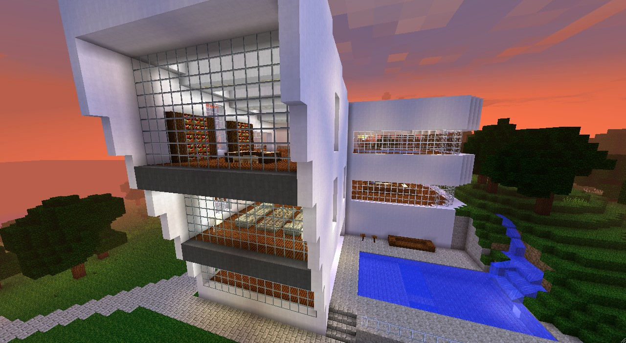Gro es modernes haus minecraft project for Modernes haus minecraft bauplan