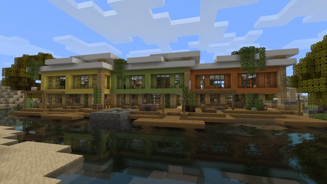 Modern rowhouses lets build beach town project minecraft for Lets build modern house 7