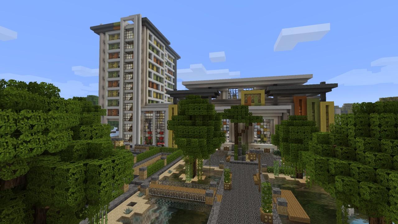 Minecraft modern mall exterior beach town project for Modern house exterior minecraft
