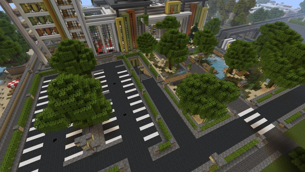 Minecraft modern mall exterior beach town project minecraft project for Minecraft exterior wall design