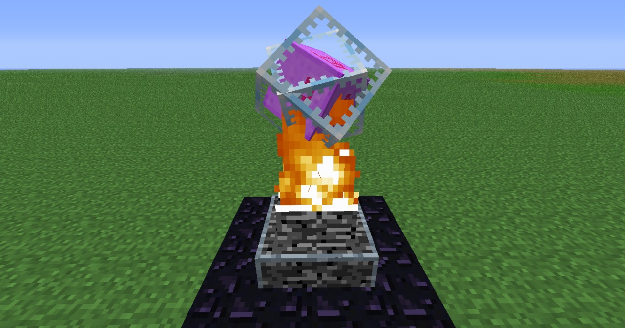 The Ender Crystal appears on a obsidian base in the Overworld