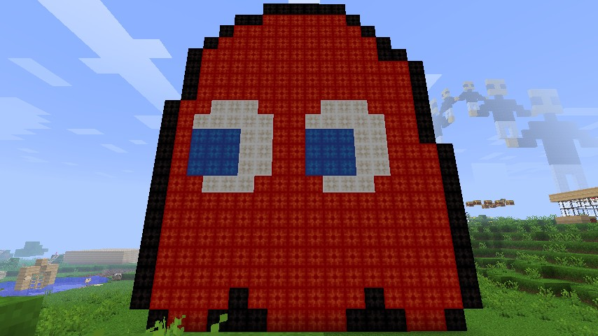 Pixel Art: Red Pac Man Ghost Minecraft Project