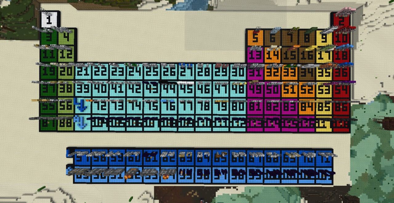 Periodic table of elements projects image collections periodic giant periodic table minecraft project the table from above gamestrikefo image collections gamestrikefo Image collections