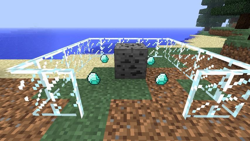 Coal ore, drops Diamonds! (Display case not included, one diamond per ore!)
