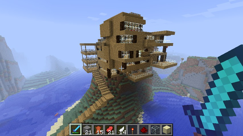 Big Wooden House With Many Redstone Machines Around