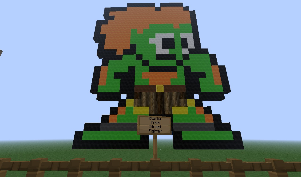 Blanka From Street Fighter Pixel Art Minecraft Project
