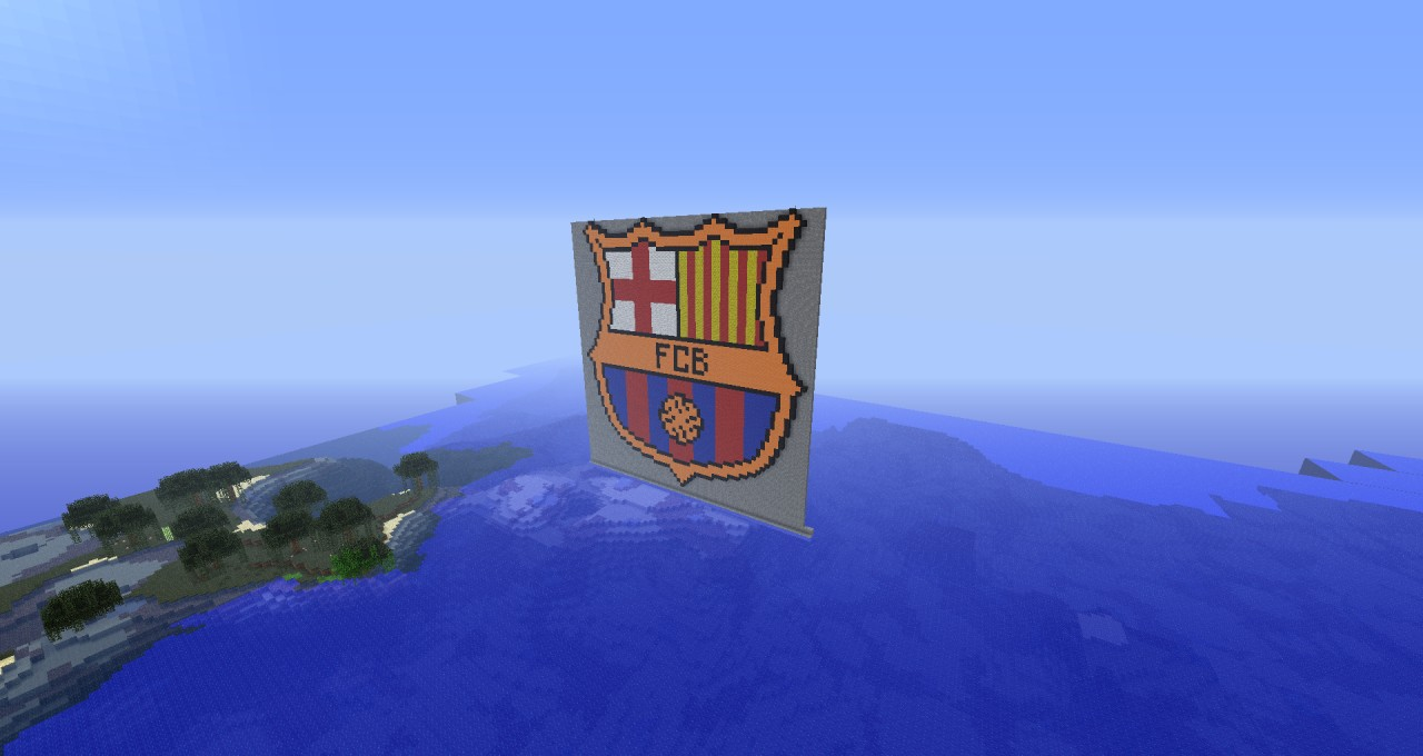 Barcelona Logo Pixel Art on wall stadium 2012