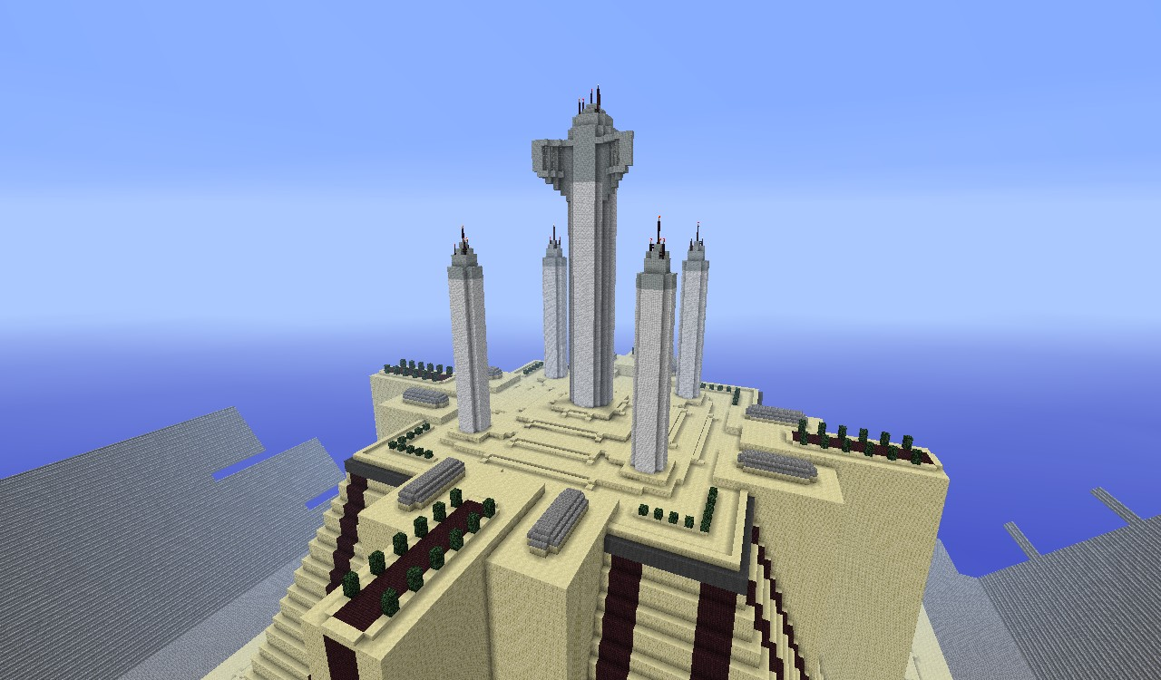 reproduction of the jedi temple on coruscant minecraft project