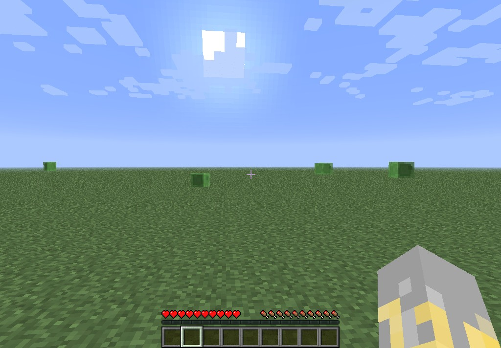 Flat-land seed with NPC village with slimes Minecraft Project