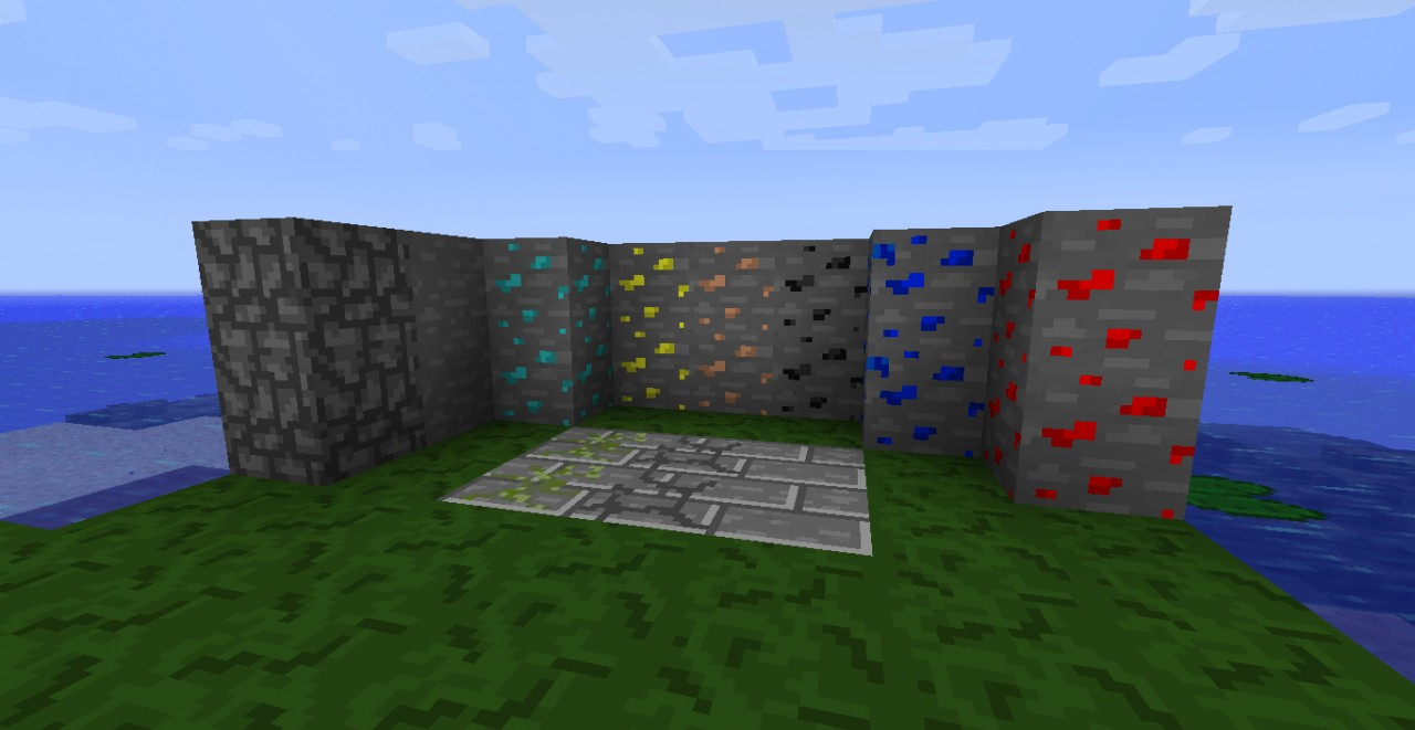Textures of all the ores, stone brick, mossy brick, cracked brick, stone and cobblestone