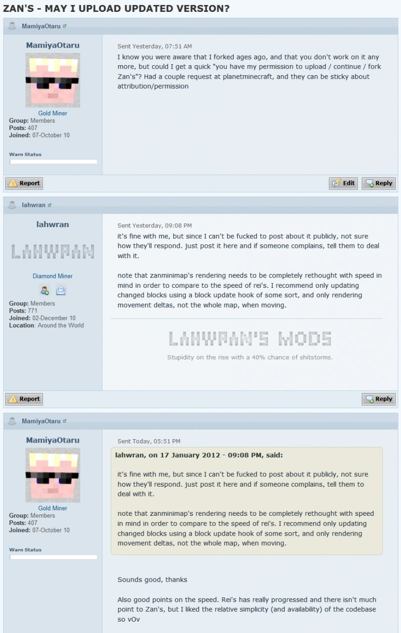 permission given from lahwran via PM on minecraftforum.net to continue this mod