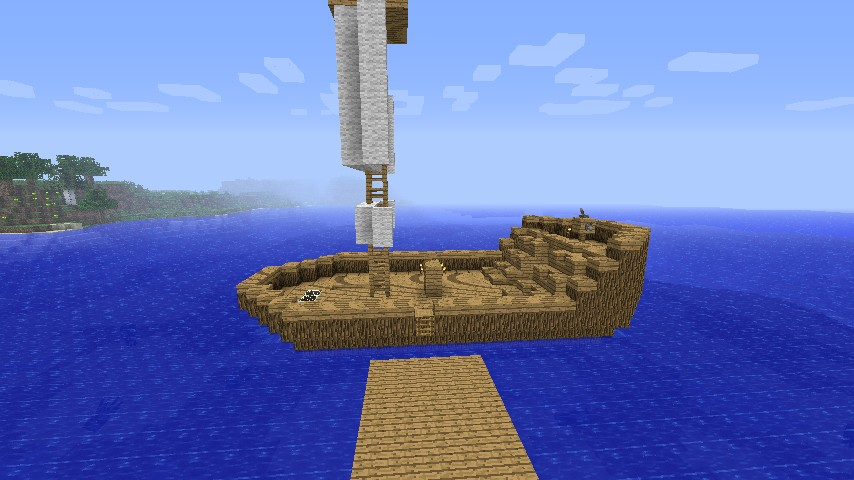 3D Boat + Fishing house Minecraft Project
