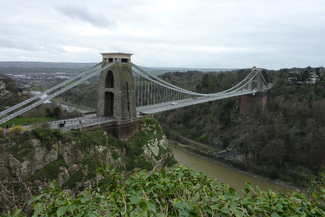 The real Clifton Suspension Bridge, spanning Avon Gorge between Bristol and Leigh Woods in the U.K.