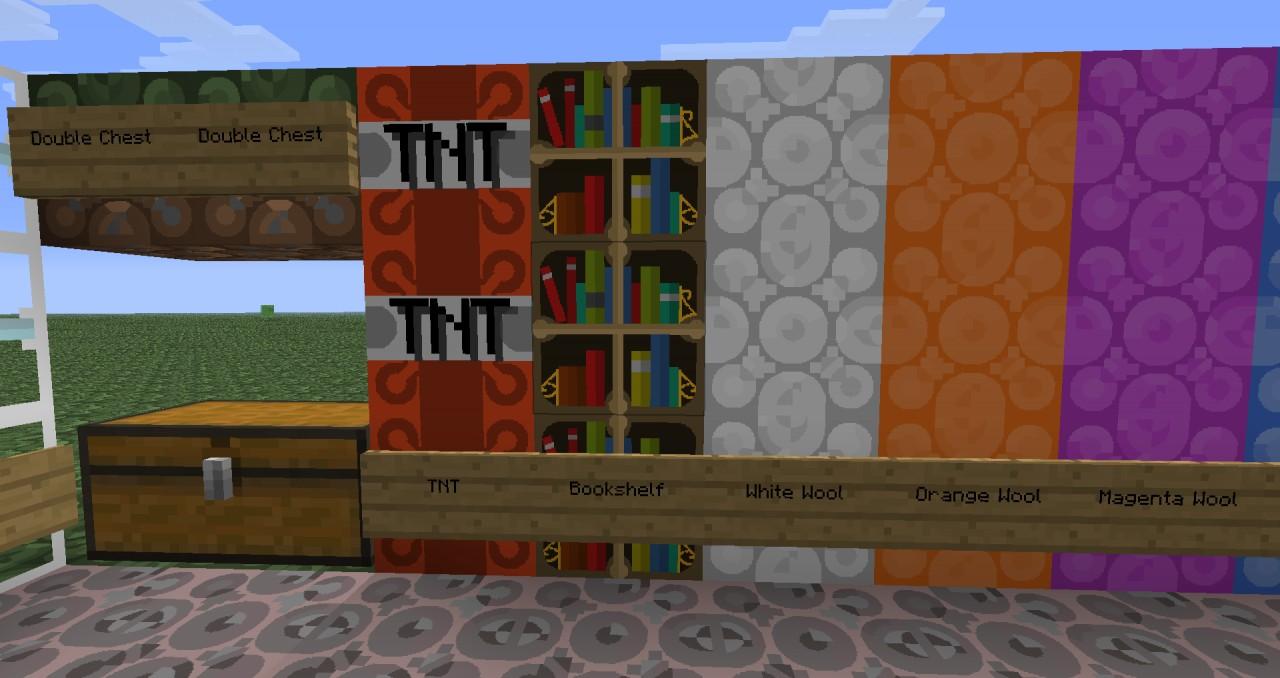 TNT, Bookshelf, White Wool, Orange Wool, Magenta Wool
