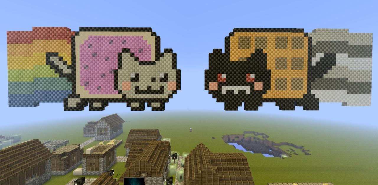 NYAN CAT VS TAC NAYN Minecraft Project Evil Nyan Cat Minecraft Grid