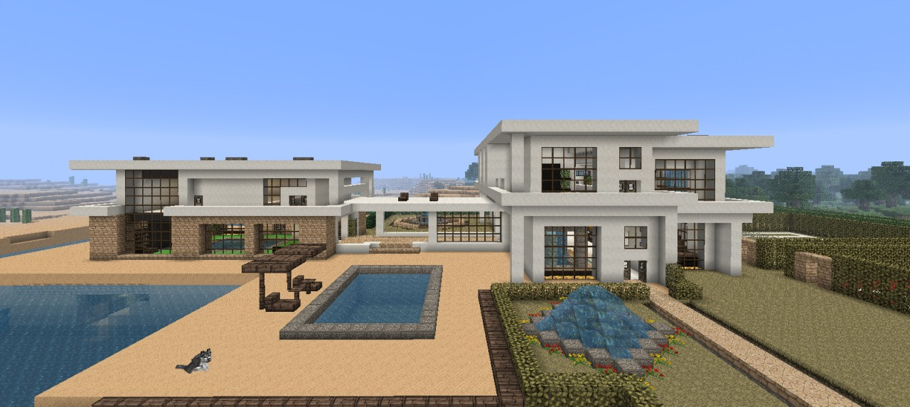 Large modern beach house minecraft project for Big modern house plans