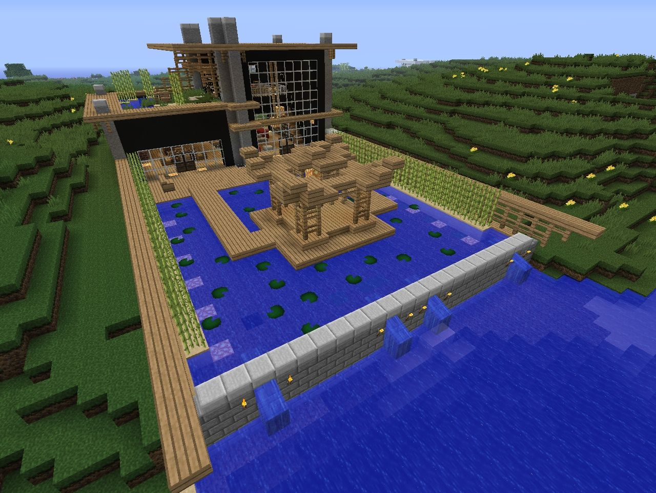 Japanese Modern On The River Minecraft Project