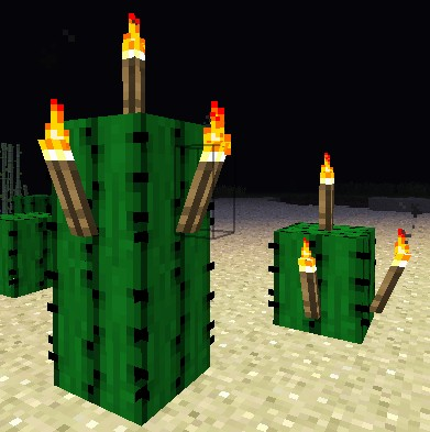torches on a cactus