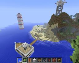 Steve's Vacation island:) (With Piston light house if it doesnt work just push the minecart inside it)