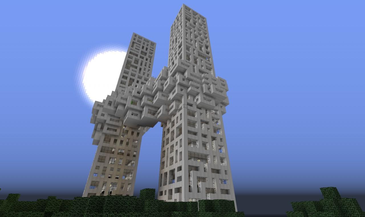 Pixelated Cloud Skyscraper Minecraft Project