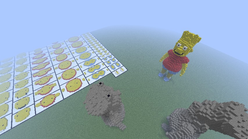 binvox, cleaned up stone and dyed wool statues included