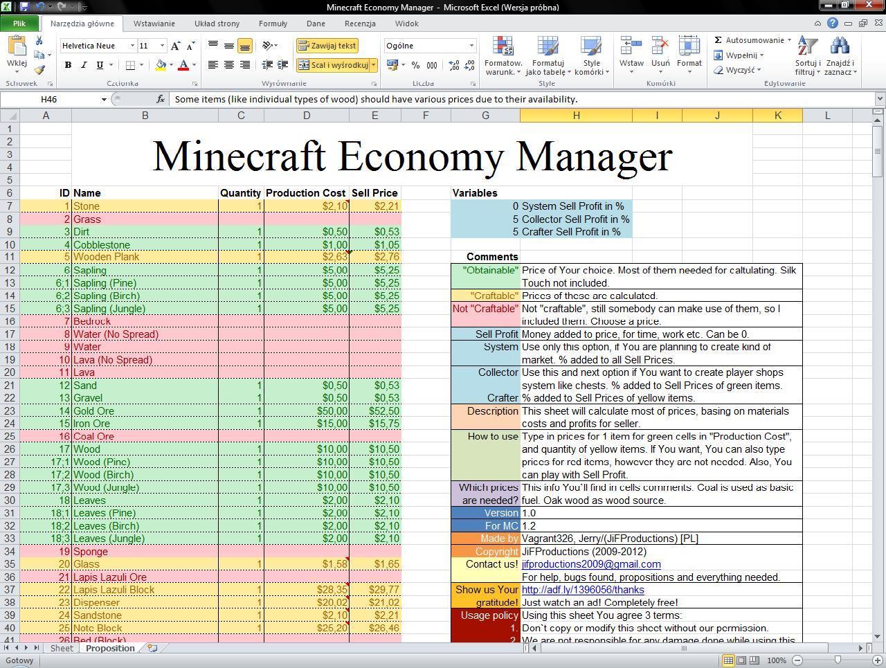 minecraft item price list 2018