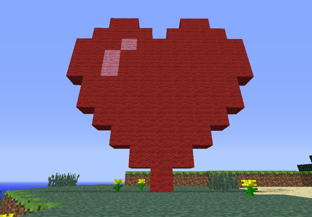 how to draw love heart in minecraft