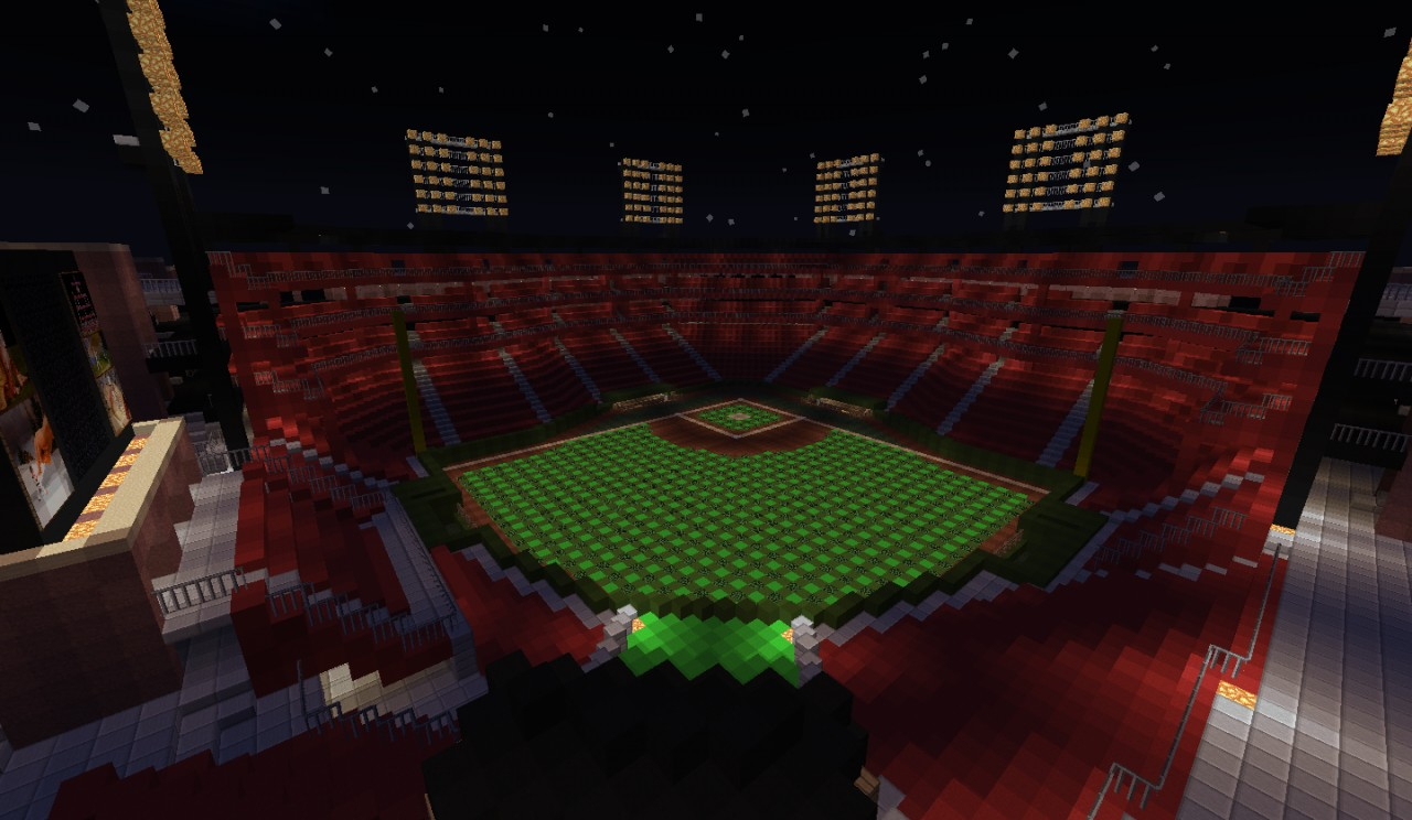 View of the field at night. Lighting was done with glowstone under the leaves in the field