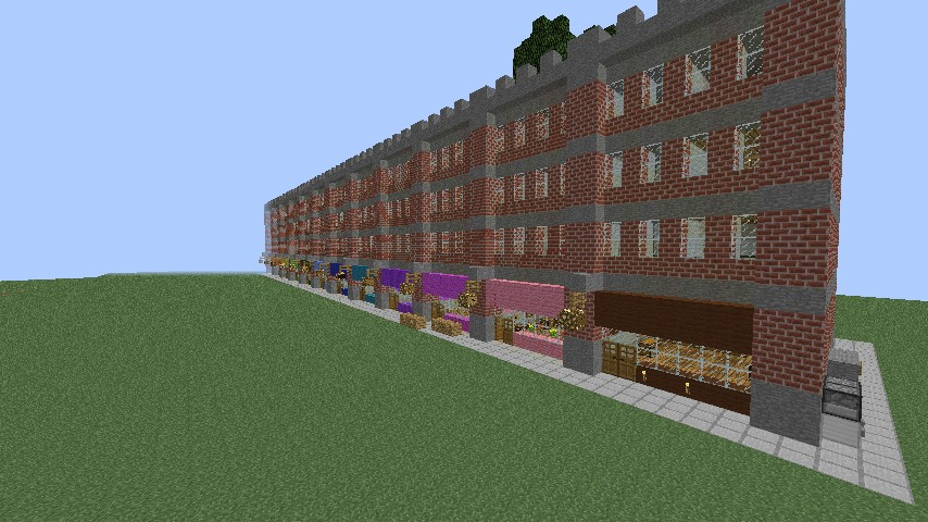Row of 11 shops and flats minecraft project for Craft com online shopping