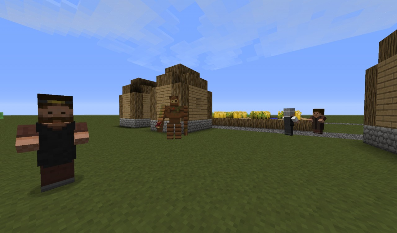 Villagers and Golem