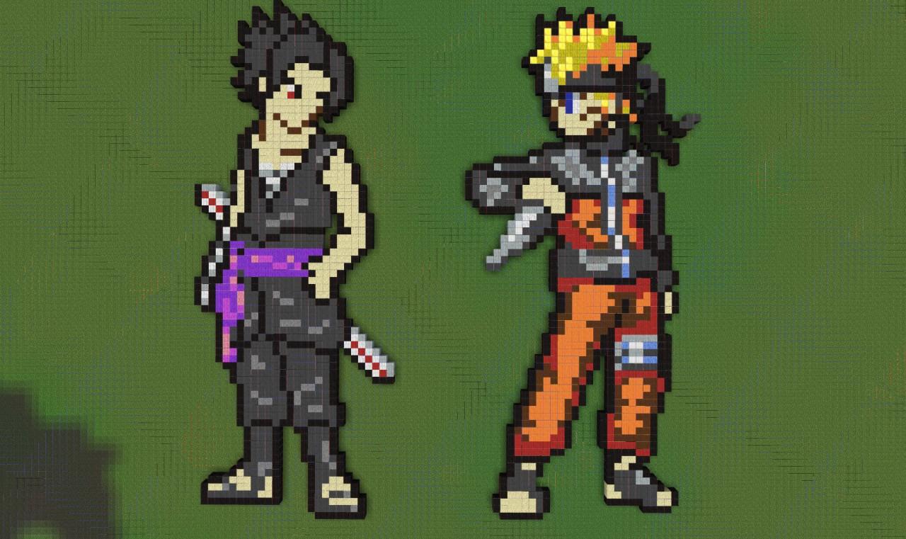 Sasuke And Naruto Pixelart Minecraft Project