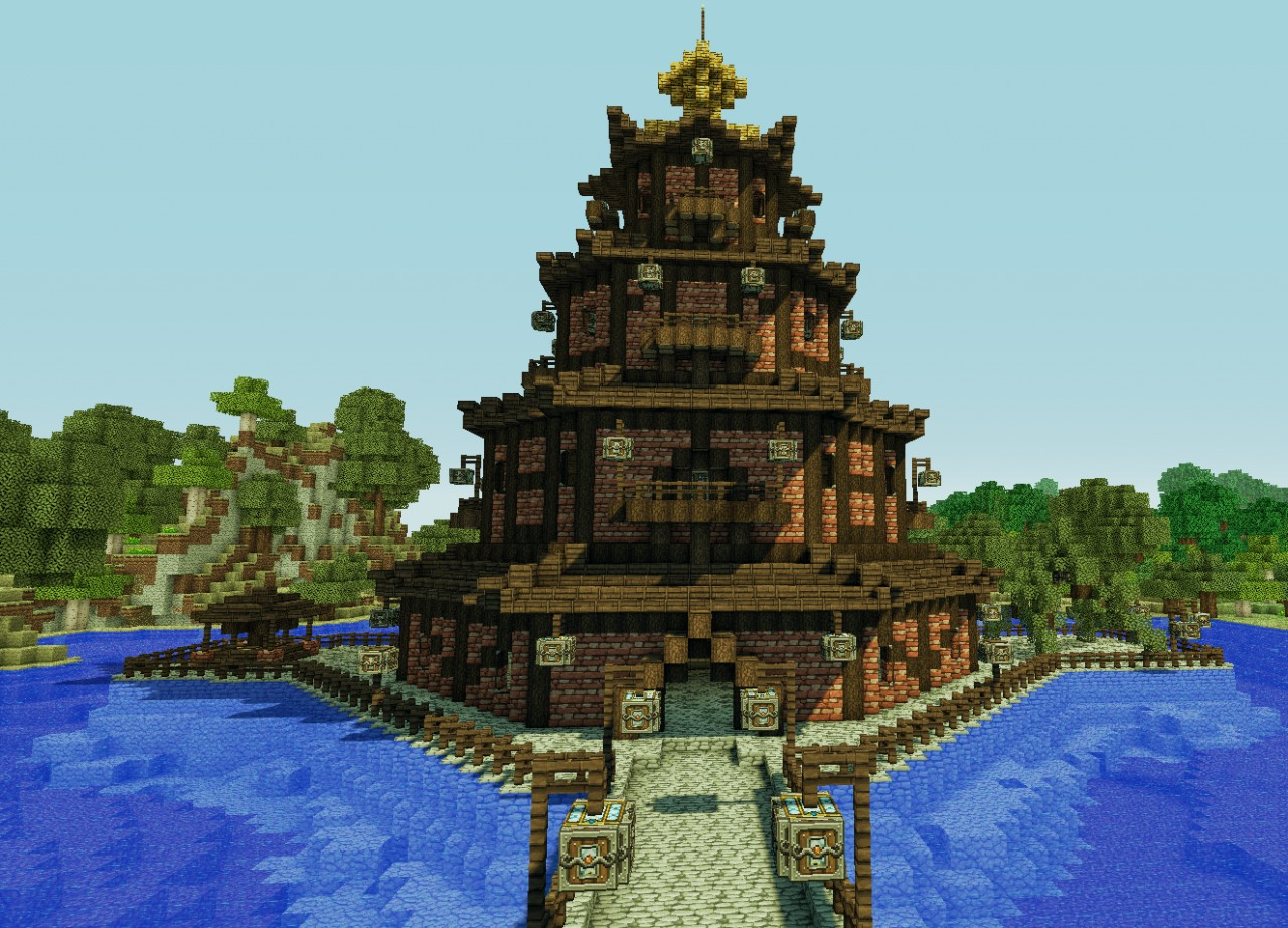 Building Chinese House In Minecraft