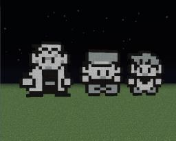 Prof Oak,Ash and Gary from pokemon game Red/Blue Pixel art Minecraft Map & Project
