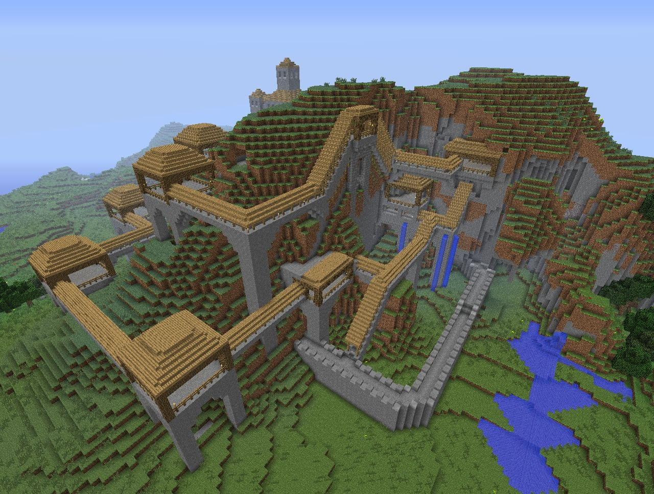 Image gallery mountain city minecraft for How to build a house in a mountain