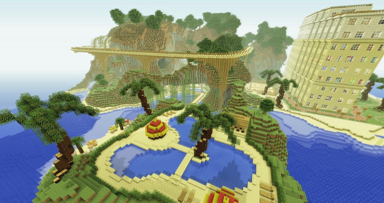 minecraft pe beach house map download