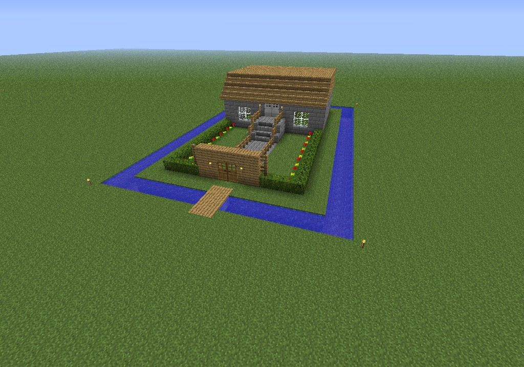 A House With A Moat Minecraft Project