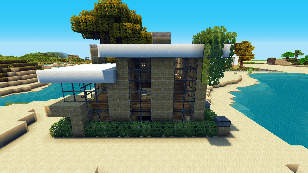 small house lets build lot size 16x16 beach town project minecraft