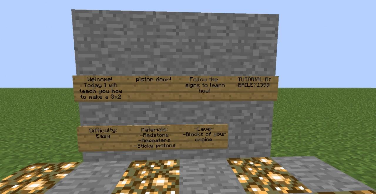 Piston Door Minecraft 2x1 Piston Door Minecraft 2x1