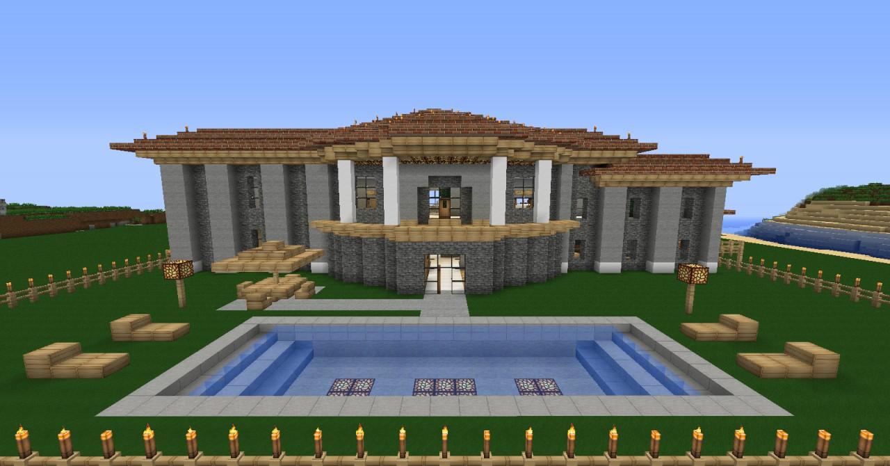 how to make a minecraft modern mansion