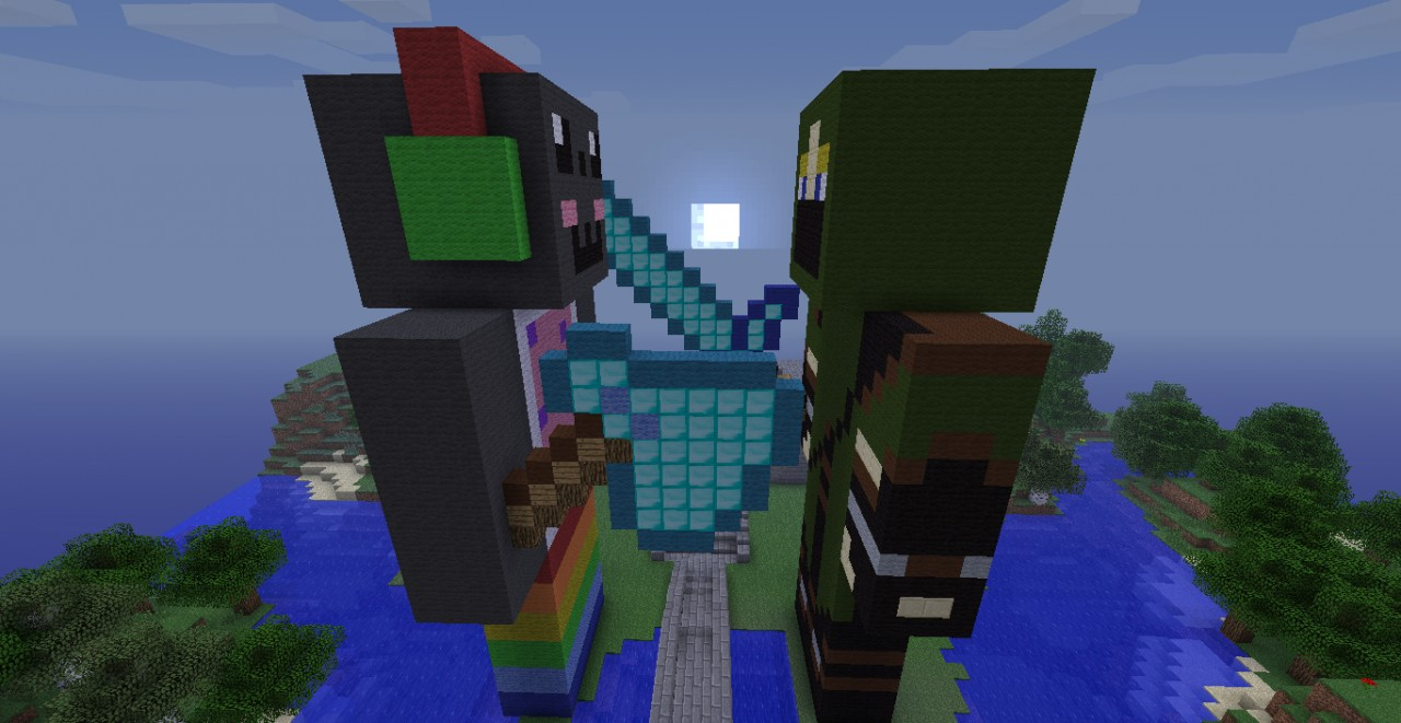 Statues of EpicMickey101 and I fighting!