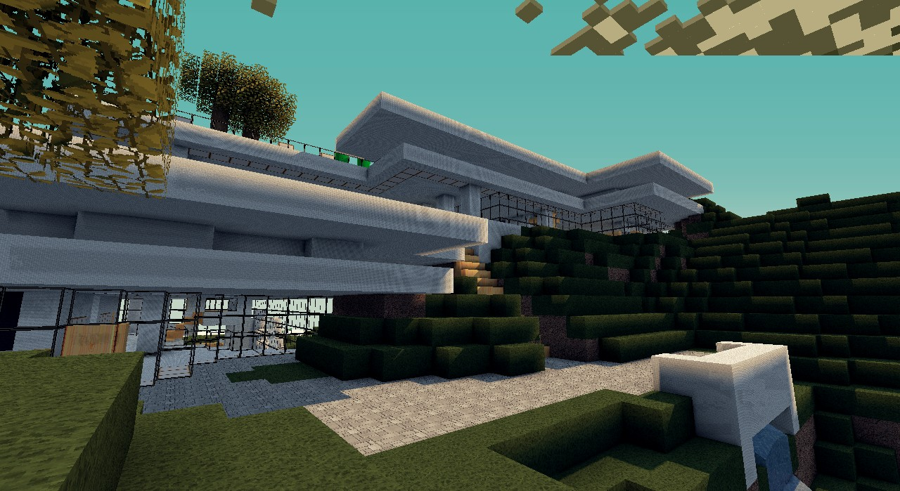 Modern hill mansion with guest house minecraft project for Modern house on hill