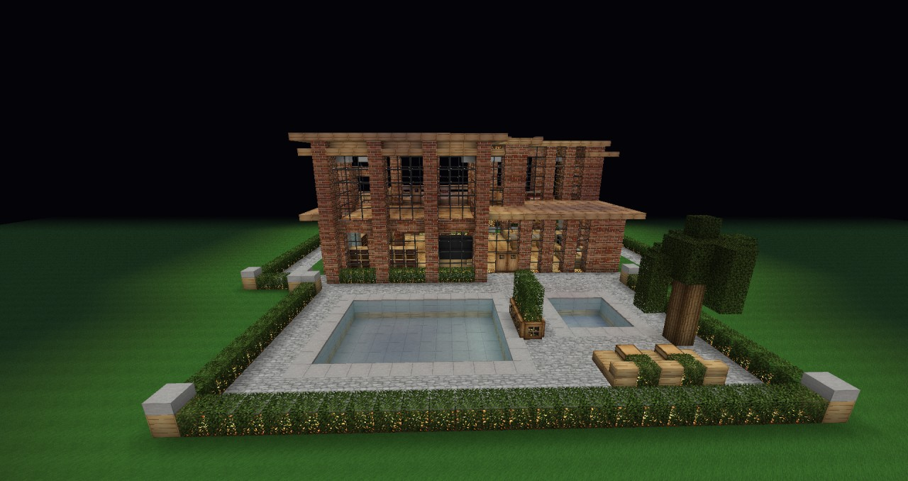 Modern brick Villa + pool with backyard! Minecraft Project on Backyard Ideas For Minecraft id=36503