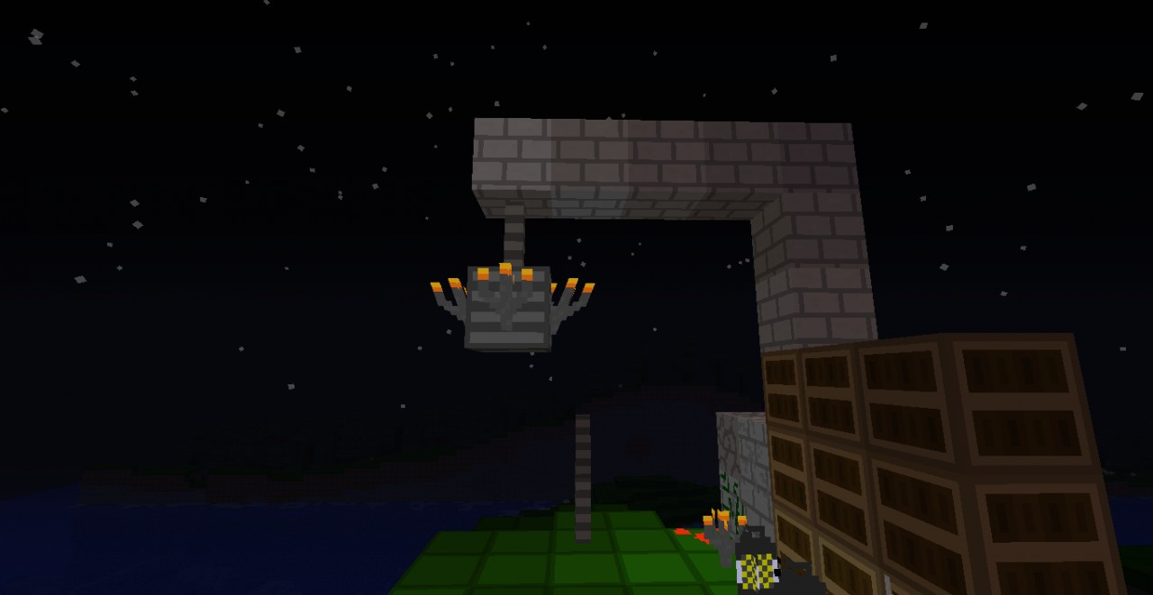 Chandlier made with stone bricks, a fence, wood planks and torches.