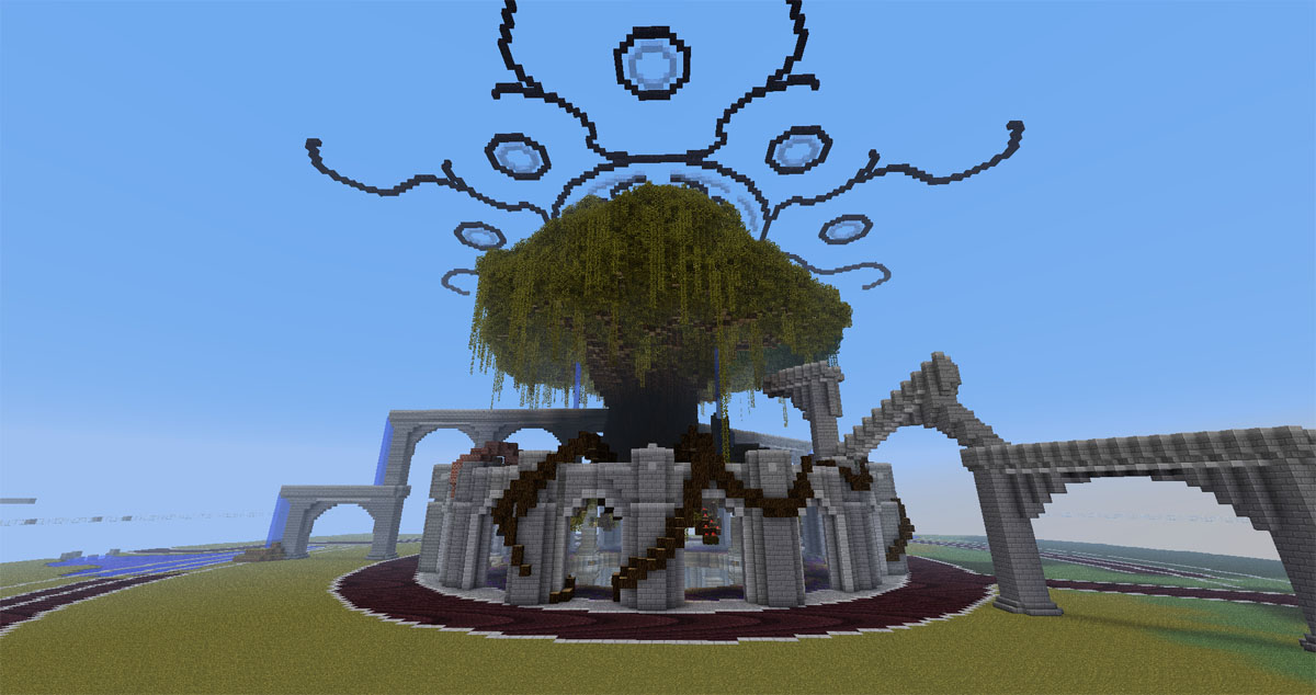 The tree starts to take shape, as do the central ruins.