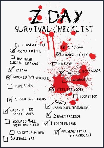 zombie survival kit checklist pdf